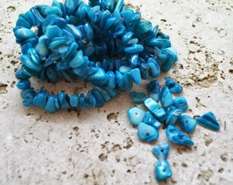 Set of 25 Natural blue tinted shell beads, 6.8 to 10 mm