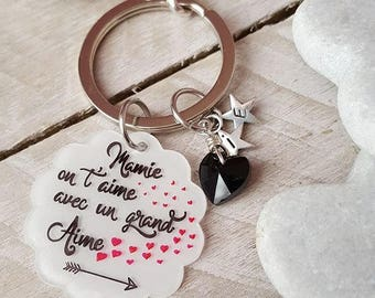 Keychain with personalized message Grandma we love you