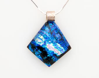 Blue and Silver Dichroic Glass Necklace