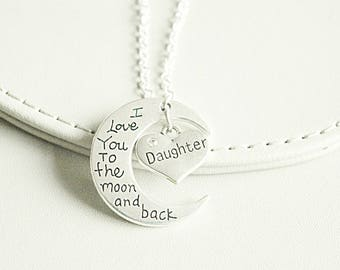 I love you to the moon and back necklace pendant, Personalized gift for family, Gift for daughter , Mother gift, Aunt Gift, family necklace
