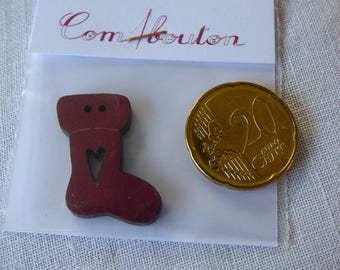 Wooden button boot Christmas red collar