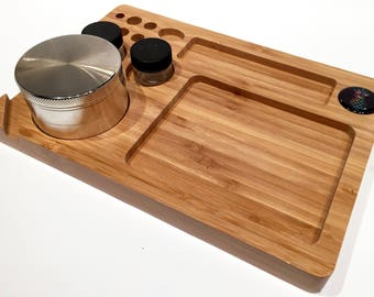Pineapple Bamboo Rolling Tray Natural Wood 6 x 9 High Quality with Natural Finish