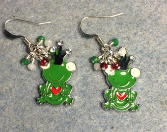 Green, white, and red enamel frog prince charm earrings adorned with tiny dangling green, white and red Chinese crystal beads.