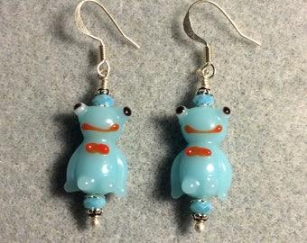 Light aqua lampwork frog bead earrings adorned with aqua Chinese crystal beads.