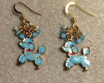 Turquoise and red enamel poodle charm earrings adorned with tiny dangling turquoise Chinese crystal beads.