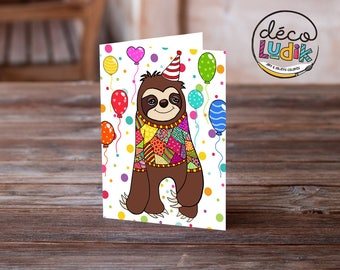 Sloth greeting card, anniversary card, funny sloth, invitation card, sloth card, birthday card, animal card, sloth illustration, sloth lover