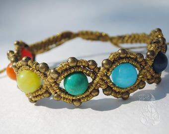 Yoga bracelet, Boho bracelet, Chakra bracelet, Gold bracelet, Statement bracelet, Xmas gift, Meditation bracelet, Gemstone bracelet