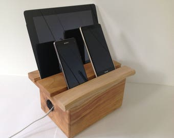 Solid cherry multiple docking station for iPhone, live edge, iPad dock, iPhone dock, USB port docking station, multi charger