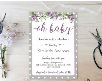 20% OFF BABY SHOWER Invitation , Floral Baby Shower , Purple and Grey Baby Shower Invitation , Purple Floral Invitation , Girl Baby Shower P