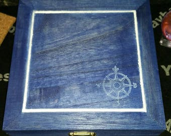 Tarot Card Box, Nautical Tarot Card Box, Hand Painted Wooden Nautical Tarot Box, Jewelry Box, Altar Box, Crystal Keepsake, Witch Box