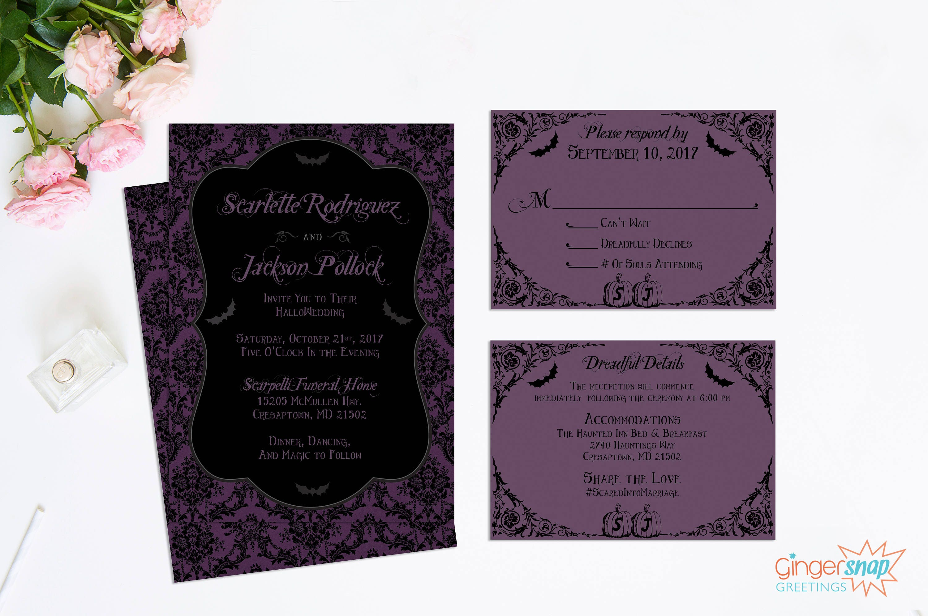 Halloween Wedding Invitation: Halloween Wedding Invitations Purple And Black
