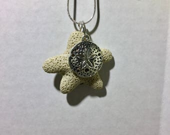 Star Lava Rock Diffuser Necklace with Sand Dollar Charm
