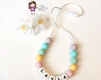 Toddler Necklace, Personalized Silicone Necklace, Pastel Silicone Teething Beads, Letter Silicone Beads, Bite Beads, Chew Beads, Teething