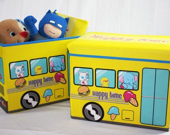 Toys Storage,Children's Storage Ottoman,Deluxe Toy Box,Folding Ottoman Storage Organizer,Faux Leather