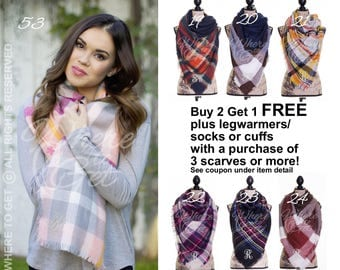 Blanket Scarf plaid, gifts for her, christmas, blanket scarf, blanket scarf monogram, tartan scarf, wool, fall wedding, oversized, sc01