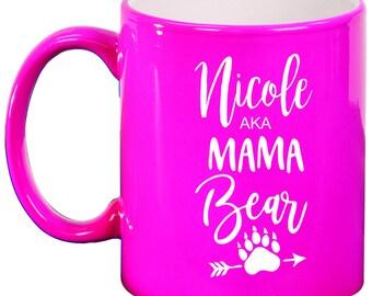Mama Bear Personalized Engraved 11 ounce Coffee Mug