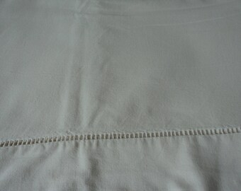 Bargain - French vintage metis linen bed sheet with thread work hem  (04869)