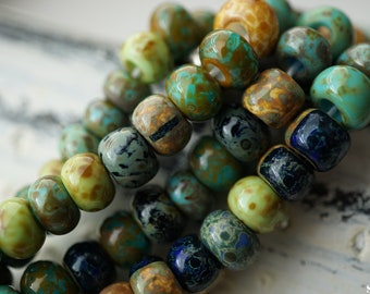 NEW Stock..Aged and Striped Picasso Mix, Seed Beads, Seed Beads, Beads