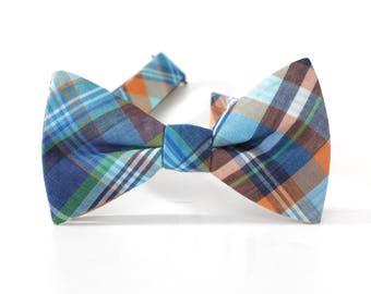 blue plaid bowtie.wedding bowtie.cotton plaid bow ties for groomsmen plaid bowtie for weddings.cheap cotton bowtie.simple plaid bow tie+bt48