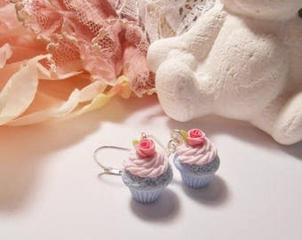 """Earrings mini cupcakes """"pastel"""" polymer clay 15mm"""