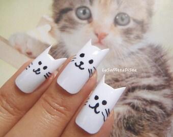 kitty false nails crazy cat lady fake nails cat kawaii white cat nail art gift fake nail false nails press on squoval nails lasoffittadiste