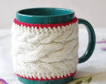 Knitted white and red cup cozy with three heart buttons, Knitted Tea Cup cozy with buttons, White  and red wool cup warmer, Wool cup cover