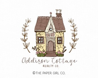 cottage logo house logo realty logo premade logo boutique logo home decor logo cabin logo pre made logo photography logo home logo