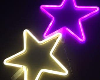 Acrylic Neon STAR Light - USB - Pink, White