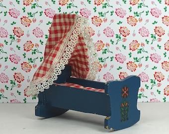 Doll house Lundby vintage cradle 1960s furniture crib bassinette wood