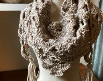Wheat Heather Triangle Scarf. Scarf Women. Gift for Her. Crochet Triangle Scarf. Handmade Scarf. Triangle Scarf Crochet. Ready to Ship.