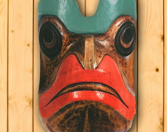 Frog Mask by Artie George, Burrard Nation, Canada, Native American, First Nations People, Tribal Wall Decor, Wall Decoration