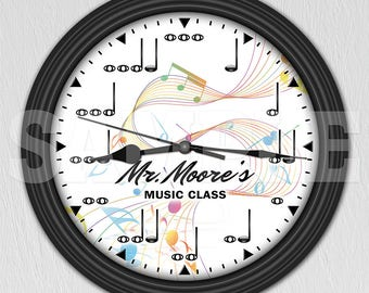 Music Notes Personalized Decorative Wall Clock - Music Decor - Musician Gift ITEM#036