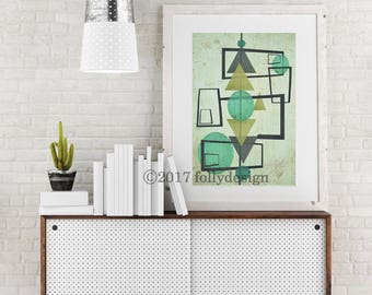 Mid Century Modern art print design. Retro Abstract print. Mid century home  decor.