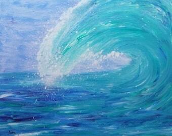 painting blue wave modern acrylic 61 x 50 cm