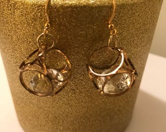 Rounded Diamond gold dangle earrings