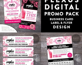 Plexus  Pink and Black Promo Pack - Business Cards, Labels & Flyer - Digital Files
