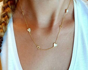 hearts gold vermeil necklace, with mother of pearl, 925 sterling silver