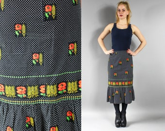 Black Polka Dot Boho Flounced Skirt, A line Prairee Gypsy Skirt, Poppy print Countryside Hippie Skirt, 1980s Bohemian Pleated Midi Skirt, S