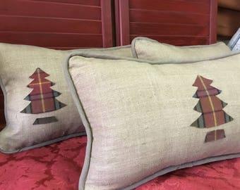 Christmas Tree Pillow, Beige Christmas Pillow, Linen Christmas Pillow, Plaid Christmas Pillow, Flannel Christmas Pillow