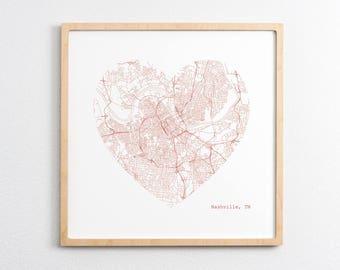 Nashville City Heart Map - Art Print
