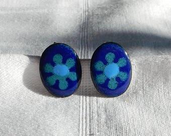 Vintage Copper Enamel Earrings - Mid Century Modern Enamel Screw on Earrings - Blue Abstract Flowers in Enamel on Copper Screw-on Earrings