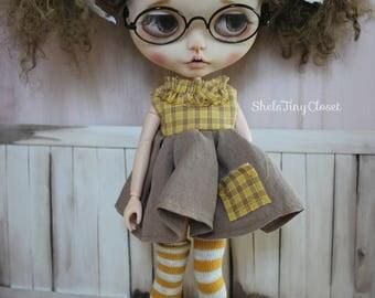 Dress For Blythe - Handmade, sleeveless Blythe Dress, checkered dress, mustard, rustic dress.