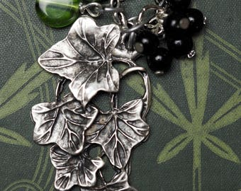 Ivy Leaf and Gemstone Ogham Pendant - Overcoming Challenges - Pagan, Wicca, Witchcraft