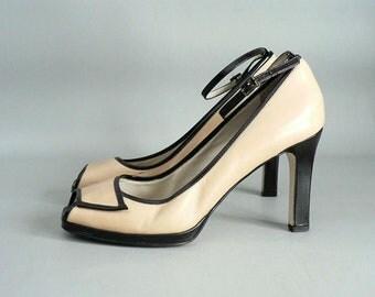 Women 8.5 Beige / Black Ankle Strap Platform Pumps Peep Toe