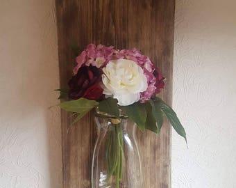 Reclaimed wood 3d flower wall art