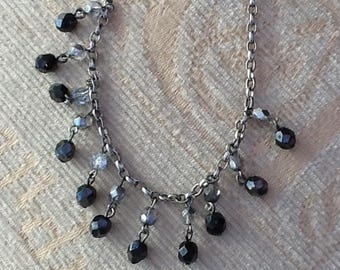 Crystal drop necklace, choker necklace, drop crystals, black and silver, vintage choker,statement necklace,  gift items
