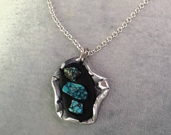 Silver and turquoise pendant , turquoise nuggets , silver chain ,  unique handmade, classic pendant,