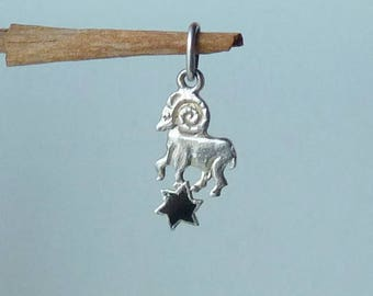 Sterling Silver Aries Zodiac Pendant, Onyx Aries Horoscope Charm, Astrological Aries, The Aries Zodiac Sign, Constellation Sign Charm