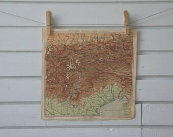 1903 Vintage Map of Western Alps