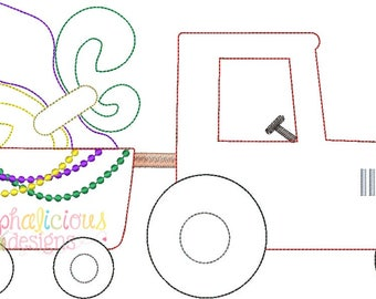 Mardi Gras Tractor Applique Design- Triple Bean